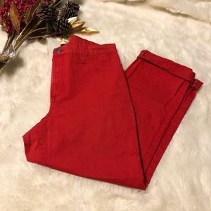 NYDJ Red Alina Stretch Cropped Jeans NWOT